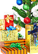 Fragment Of Christmas And New Year Tree With Gift Boxes. Isolated Over White Background stock photo