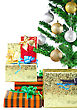 Fragment Of Christmas And New Year Tree With Gift Boxes. Isolated Over White Background stock photography