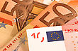 Fragment Of Fifty And Ten Euro Money stock image