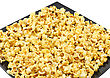 Fragment Of Plate With Fresh Caramel Popcorn. Close-Up. Isolated stock image