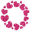Frame From Pink Hearts With Glitter Background, Space Place For Your Text - Vector