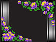 Frame Of Purple Flowers On A Black Background With Shimmering Stripes