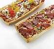 Vegetables French Bread Pizza With Grilled Vegetables And Pepperoni stock photo