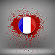French Icon And Blood Splatter On Soft Grey Background stock vector