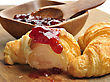 Fresh Croissants With Jam,Close Up stock photography