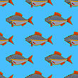 Fresh Fish Isolated On Blue Background. Seamless Fish Pattern stock illustration