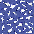 Fresh Fish Isolated On Blue Background. Seamless Pattern stock vector