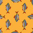 Fresh Fish Isolated On Orange Background. Seamless Fish Pattern