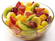 Fresh Fruit Salad in Glas Bowl stock photo