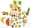 Fresh Fruits Falling Into Water stock photo