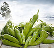 Fresh Green Pepper On A Wooden Table stock image