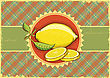 Fresh Lemons .Vector Vintage Fruits On Old Label