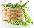 Fresh Peas In A Basket stock photo