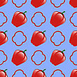 Fresh Red Seamless Pattern On Blue Background