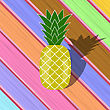 Fresh Ripe Pineapple On Colorful Wood Diagonal Planks. Tropical Fruit Background