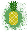 Fresh Ripe Pineapple On Green Splatter. Tropical Fruit Background