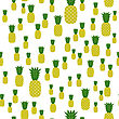 Fresh Ripe Pineapple Seamless Pattern On White. Tropical Fruit Background