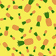 Fresh Ripe Pineapple Seamless Pattern On Yellow. Tropical Fruit Background