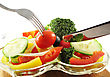 Fresh Salad With Fork And Knife , Close Up stock photography