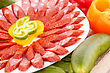 Sausages Fresh Sausages And Vegetables Closeup Picture stock image
