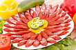 Fresh Sausages And Vegetables Closeup Picture stock image