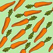 Fresh Seamless Pattern With Carrots, Vector Format