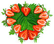Fresh Strawberries In Heart Shape On Green Foliage . Isolated stock photo