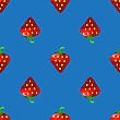 Fresh Strawberry Fruit Seamless Pattern On Blue Background