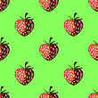 Fresh Strawberry Fruit Seamless Pattern On Green