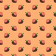 Fresh Strawberry Fruit Seamless Pattern On Orange