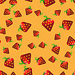 Fresh Strawberry Fruit Seamless Pattern On Orange Background