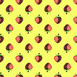 Fresh Strawberry Fruit Seamless Pattern On Yellow Background