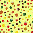 Fresh Sweet Colored Red Green Yellow Bell Peppers Seamless Pattern On Yellow Background
