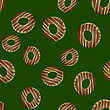 Fresh Sweet Donuts Seamless Pattern On Green Background. Delicios Tasty Glazed Donut. Cream Yummy Cookie