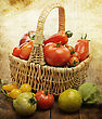 Fresh Tomatoes In A Basket stock photo