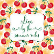 Fresh Watercolor Summer Background With Cherries, Vector Format