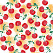 Fresh Watercolor Summer Pattern With Cherries, Vector Format
