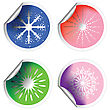 Fresh Winter Stickers With Snowflakes And Pealed Corners stock illustration
