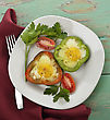 Fried Eggs In Sweet Pepper Slices stock image
