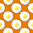 Fried Eggs Seamless Pattern On Orange Background