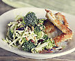 Fried Fish Fillets And Salad stock photography