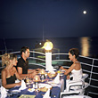 People Eating  Friends Dining in Moonlight stock photo