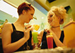 Friends Having Cocktails stock photography