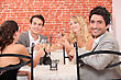 Friends Having Dinner Together stock image