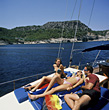 Boating Friends Sailing stock photography