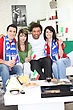 Friends Supporting The Italian Football Team stock photo