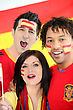 Nation Friends Supporting The Spanish Soccer Team stock image