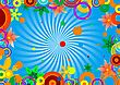 Fringing From Colour Circles And Flowers On A Bright Background