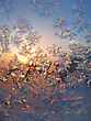 Frosty Natural Pattern And Sun On Winter Window stock photo