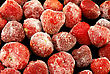 Frozen Strawberries, On Black Background stock image